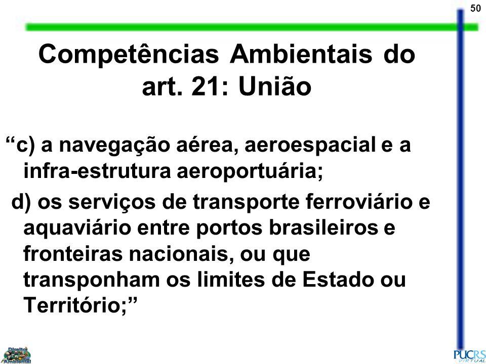 Competências Ambientais do art. 21: União