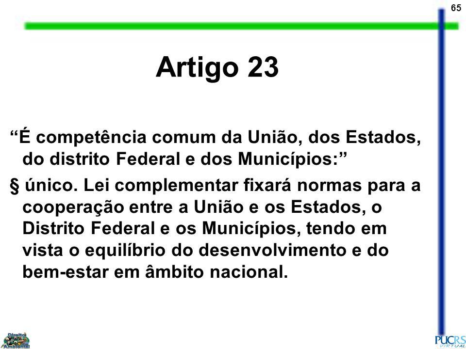 Artigo 23 É competência comum da União, dos Estados, do distrito Federal e dos Municípios: