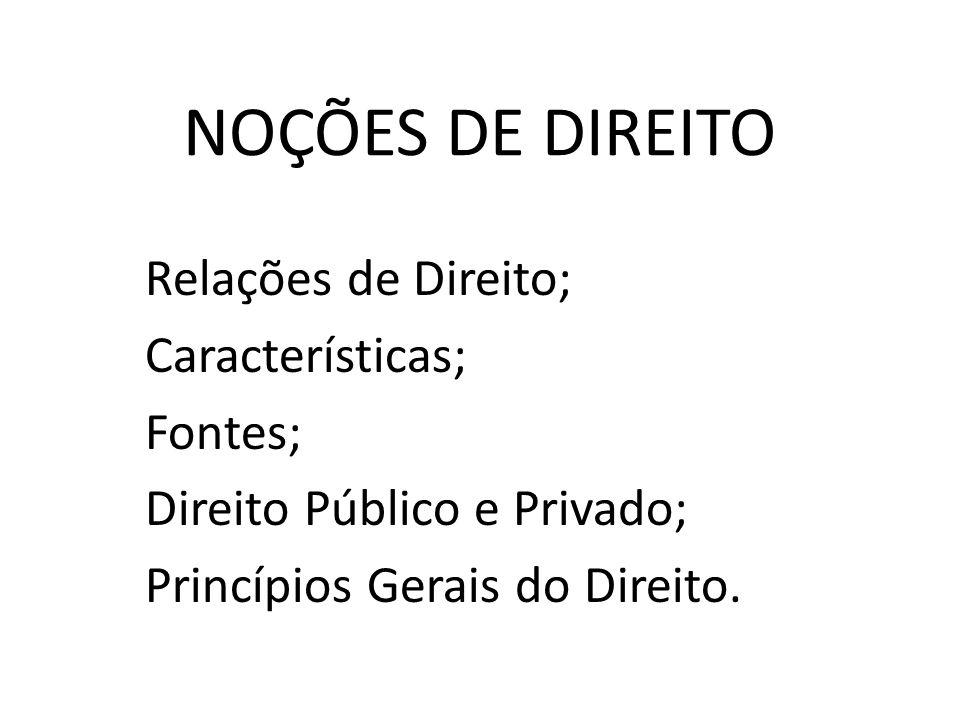 NOÇÕES DE DIREITO Relações de Direito; Características; Fontes;