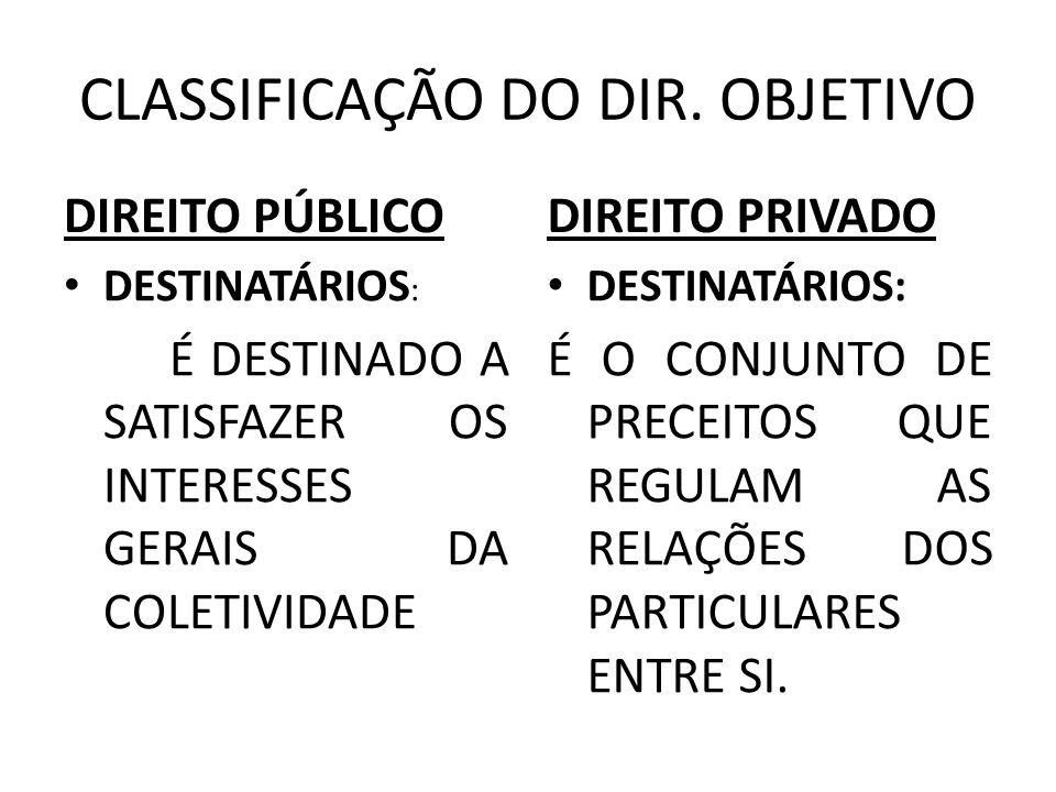 CLASSIFICAÇÃO DO DIR. OBJETIVO