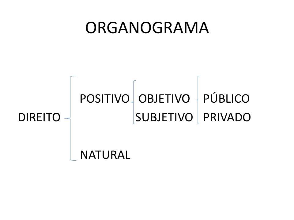 ORGANOGRAMA POSITIVO OBJETIVO PÚBLICO DIREITO SUBJETIVO PRIVADO NATURAL