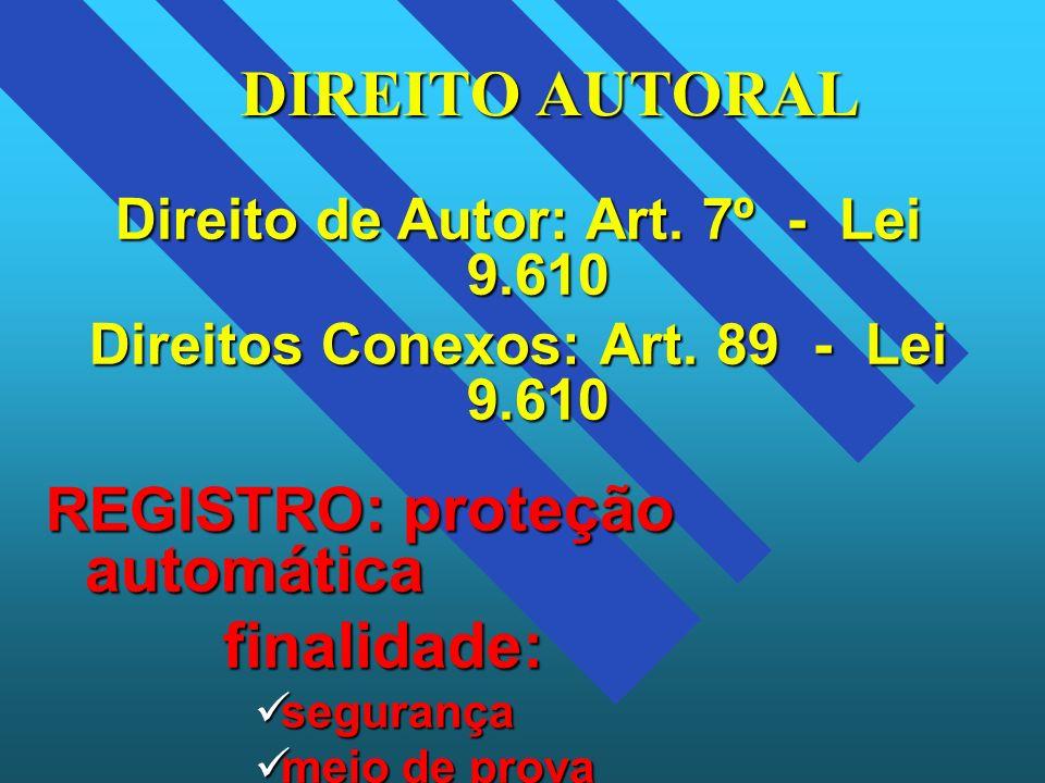 DIREITO AUTORAL finalidade: REGISTRO: proteção automática