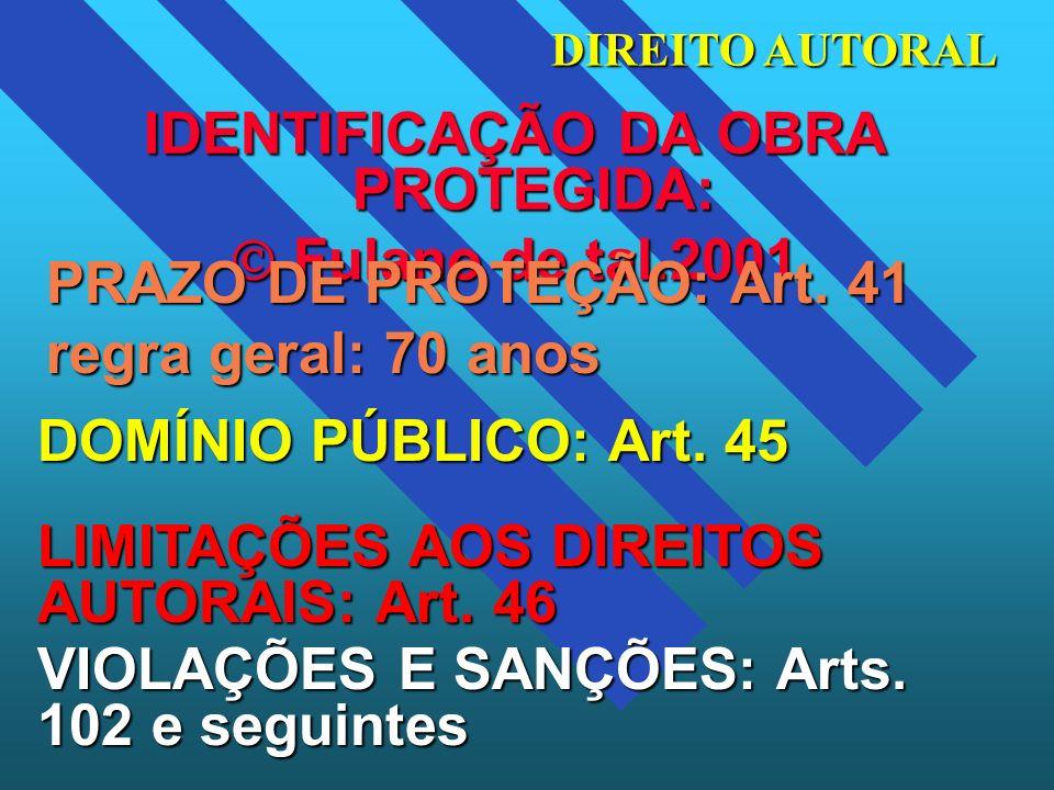 IDENTIFICAÇÃO DA OBRA PROTEGIDA: