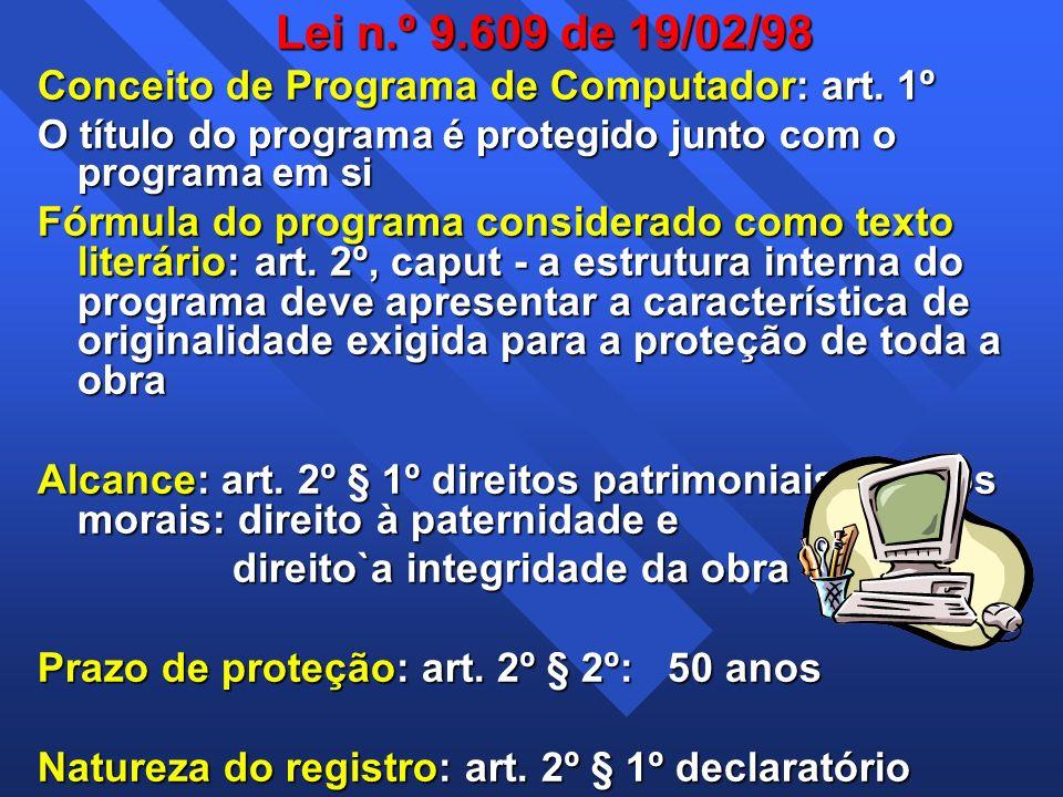 Lei n.º 9.609 de 19/02/98 Conceito de Programa de Computador: art. 1º