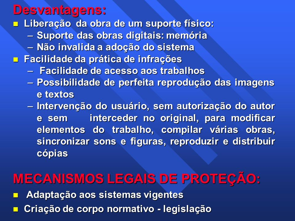 MECANISMOS LEGAIS DE PROTEÇÃO: