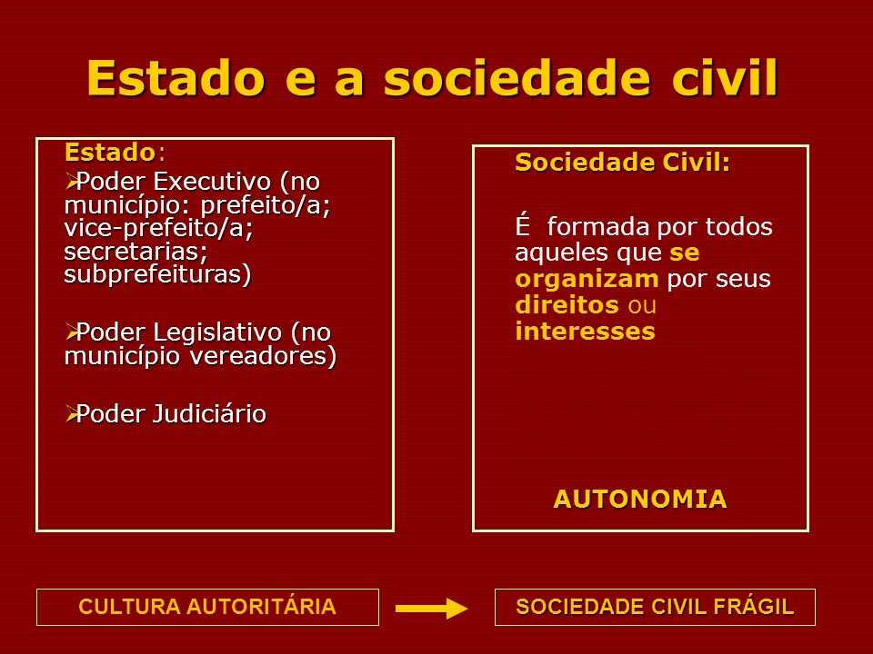 Estado e a sociedade civil