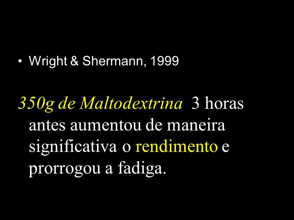 Wright & Shermann, 1999 350g de Maltodextrina 3 horas antes aumentou de maneira significativa o rendimento e prorrogou a fadiga.