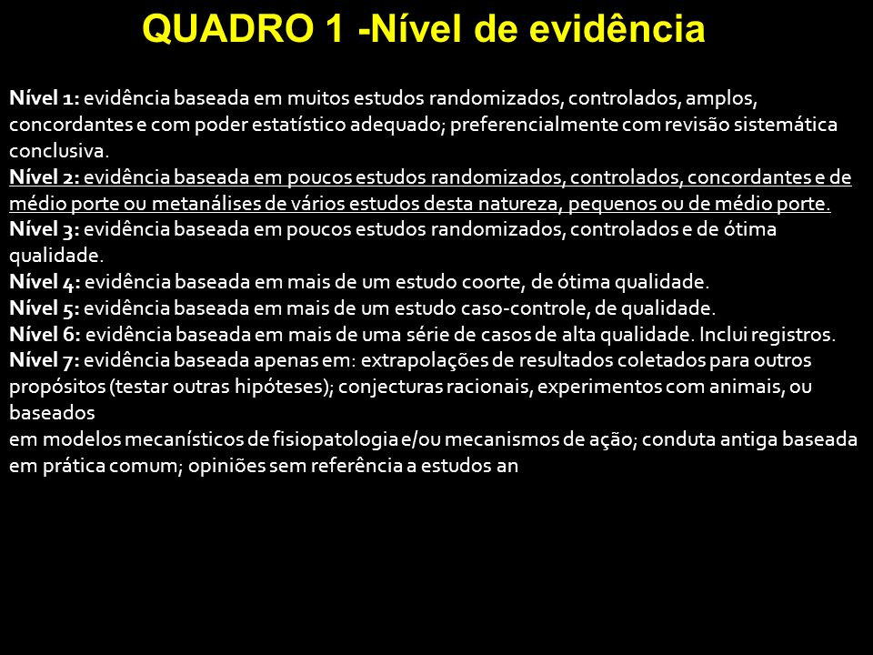 QUADRO 1 -Nível de evidência