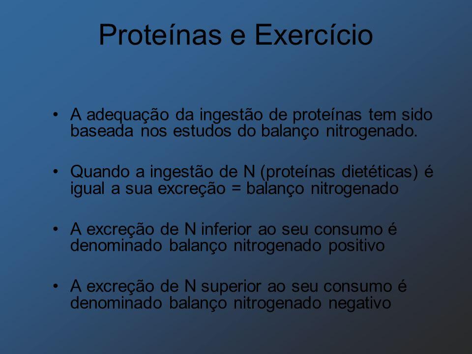 Proteínas e Exercício A adequação da ingestão de proteínas tem sido baseada nos estudos do balanço nitrogenado.