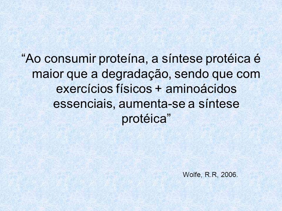 Ao consumir proteína, a síntese protéica é maior que a degradação, sendo que com exercícios físicos + aminoácidos essenciais, aumenta-se a síntese protéica