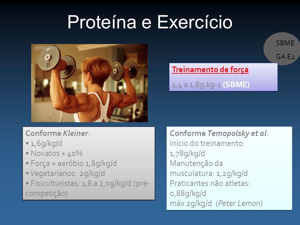 Proteína e Exercício Treinamento de força 1,4 a 1,8g.kg-1 (SBME)