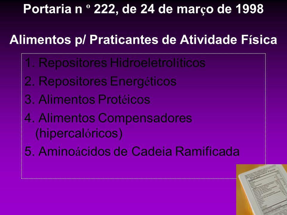 Portaria n º 222, de 24 de março de 1998 Alimentos p/ Praticantes de Atividade Física