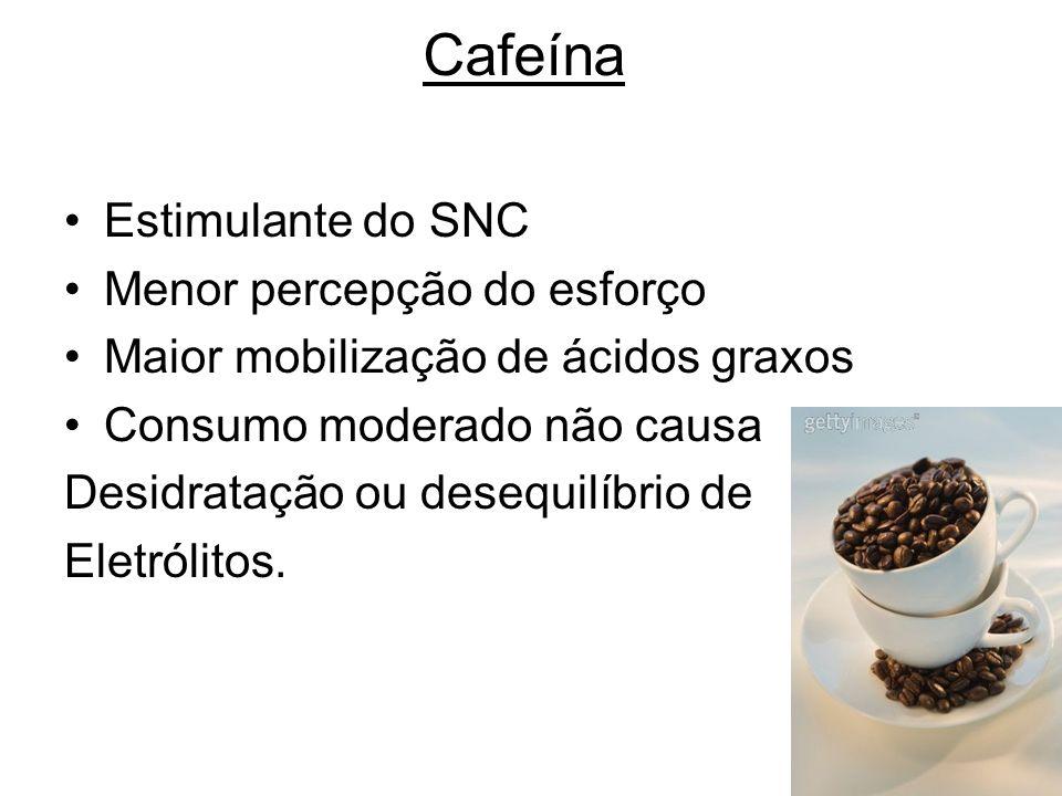 Cafeína Estimulante do SNC Menor percepção do esforço