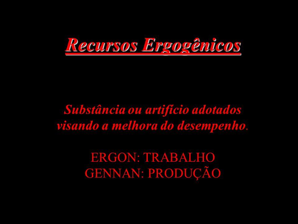 Recursos Ergogênicos Substância ou artifício adotados visando a melhora do desempenho.