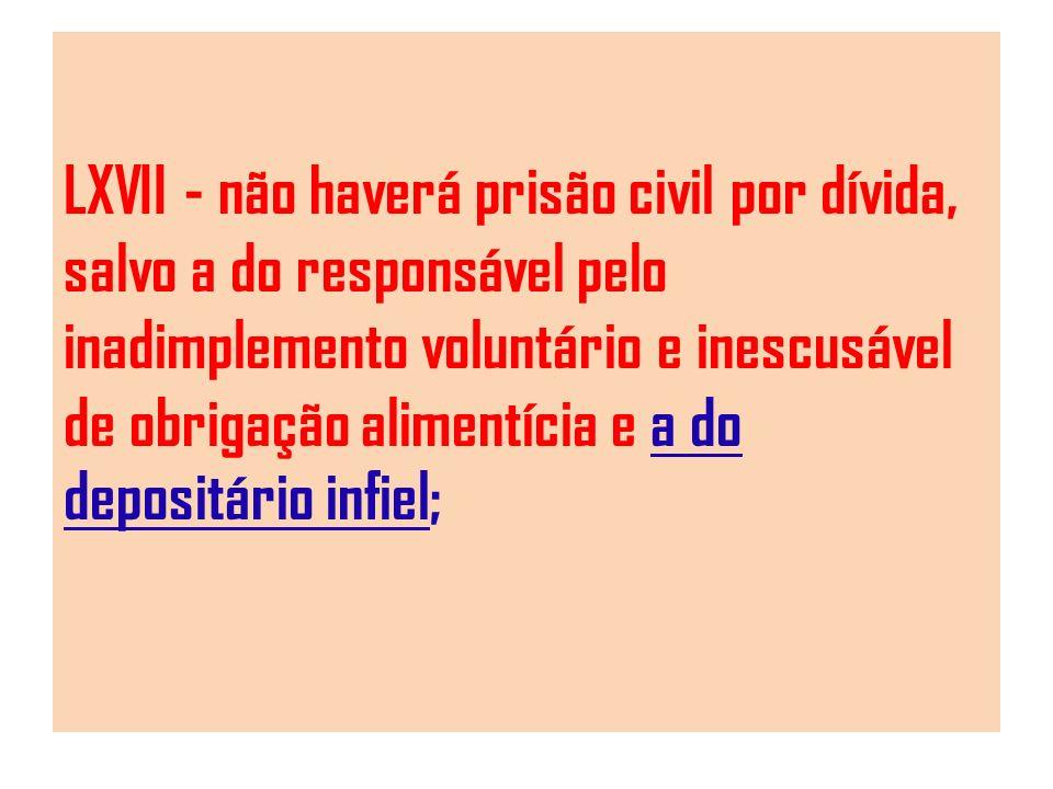 LXVII - não haverá prisão civil por dívida, salvo a do responsável pelo inadimplemento voluntário e inescusável de obrigação alimentícia e a do depositário infiel;