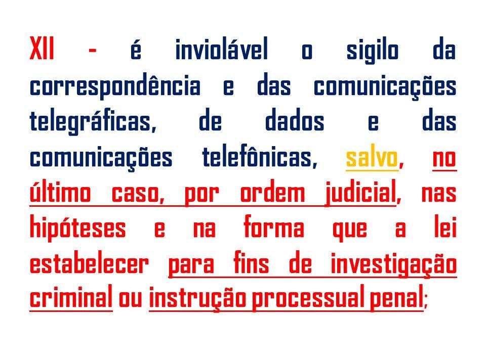 XII - é inviolável o sigilo da correspondência e das comunicações telegráficas, de dados e das comunicações telefônicas, salvo, no último caso, por ordem judicial, nas hipóteses e na forma que a lei estabelecer para fins de investigação criminal ou instrução processual penal;