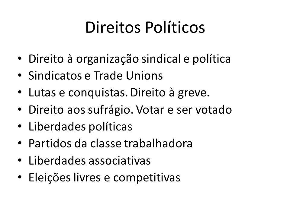 Direitos Políticos Direito à organização sindical e política