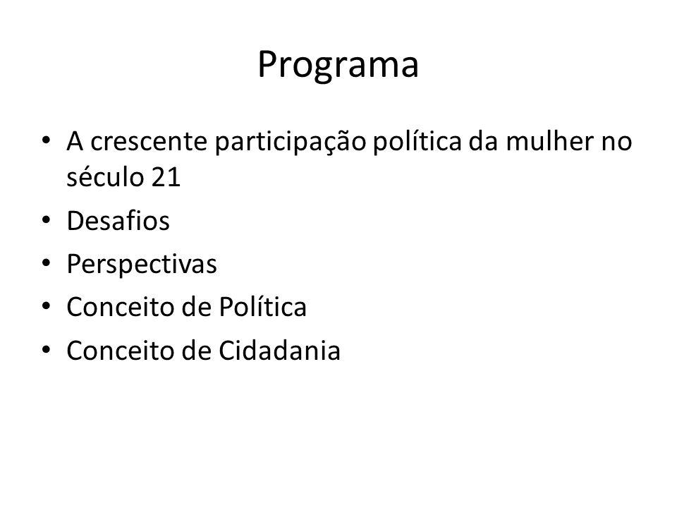 Programa A crescente participação política da mulher no século 21