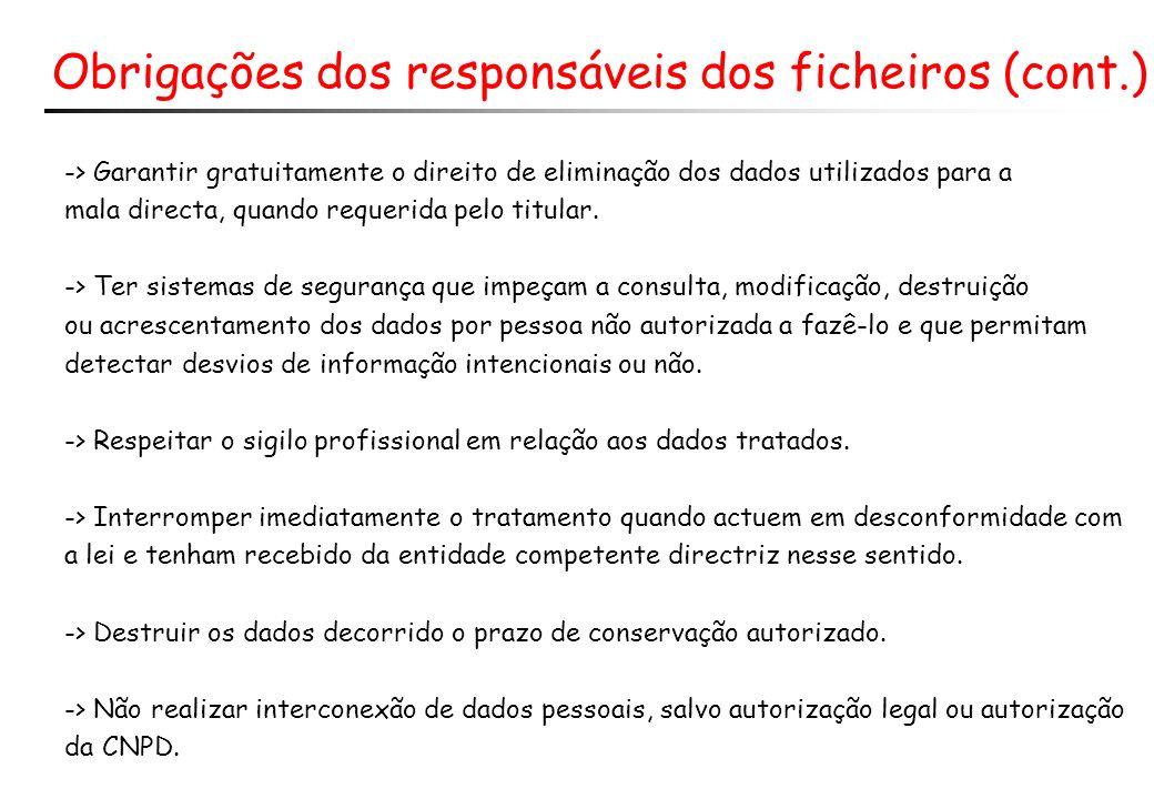 Obrigações dos responsáveis dos ficheiros (cont.)