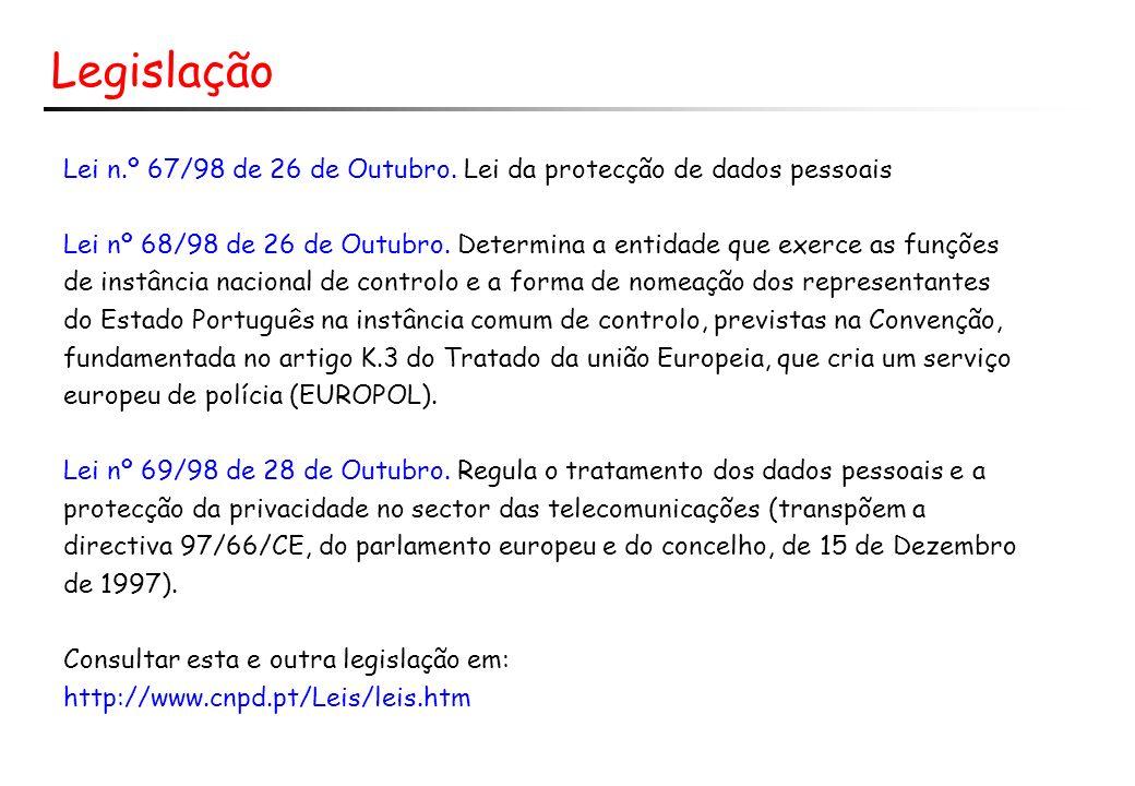 Legislação Lei n.º 67/98 de 26 de Outubro. Lei da protecção de dados pessoais.