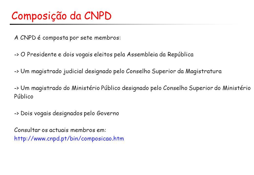 Composição da CNPD A CNPD é composta por sete membros:
