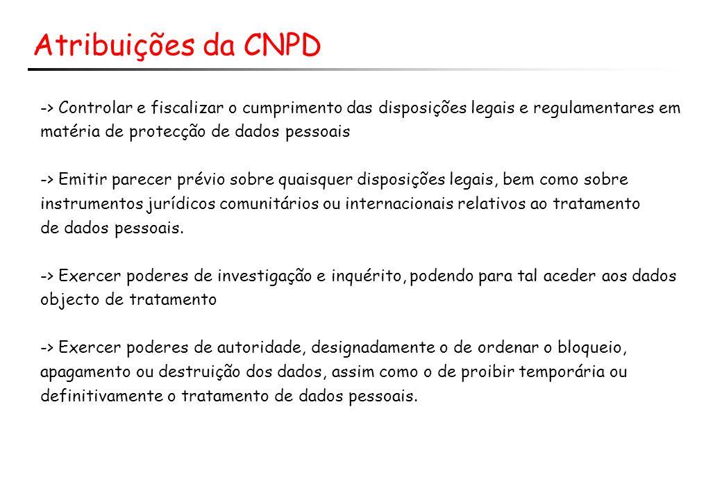 Atribuições da CNPD -> Controlar e fiscalizar o cumprimento das disposições legais e regulamentares em.