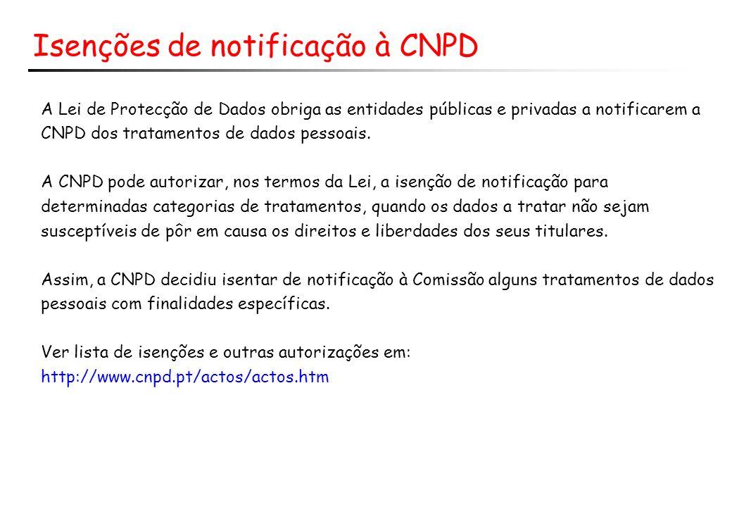 Isenções de notificação à CNPD