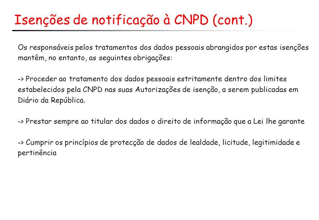 Isenções de notificação à CNPD (cont.)