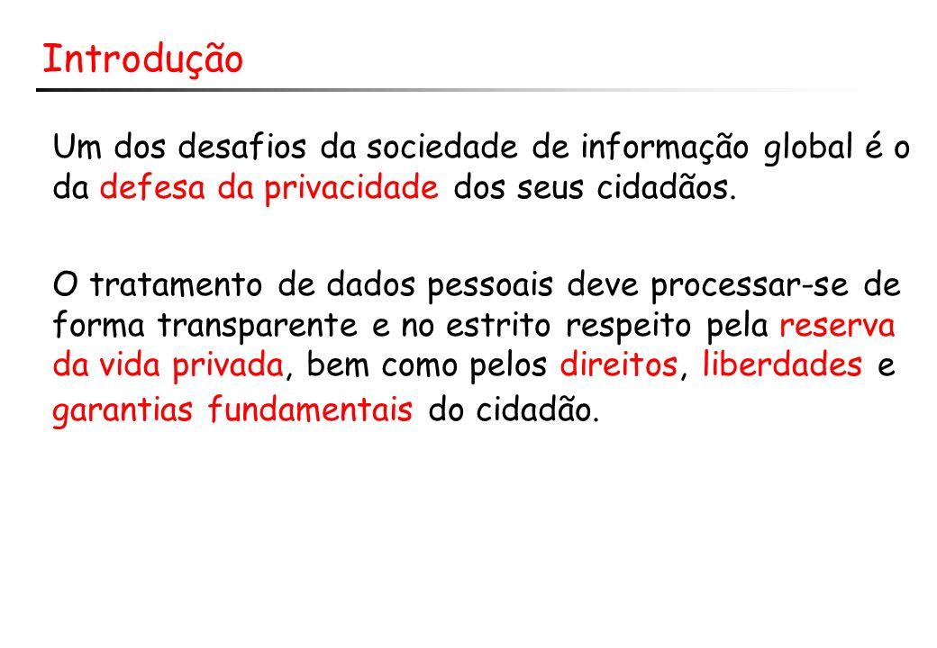 Introdução Um dos desafios da sociedade de informação global é o da defesa da privacidade dos seus cidadãos.