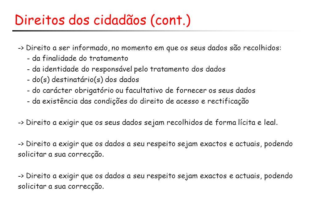 Direitos dos cidadãos (cont.)