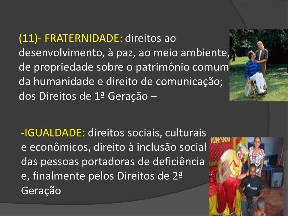 (11)- FRATERNIDADE: direitos ao desenvolvimento, à paz, ao meio ambiente, de propriedade sobre o patrimônio comum da humanidade e direito de comunicação; dos Direitos de 1ª Geração –