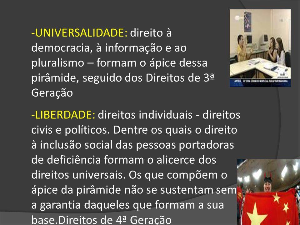 -UNIVERSALIDADE: direito à democracia, à informação e ao pluralismo – formam o ápice dessa pirâmide, seguido dos Direitos de 3ª Geração
