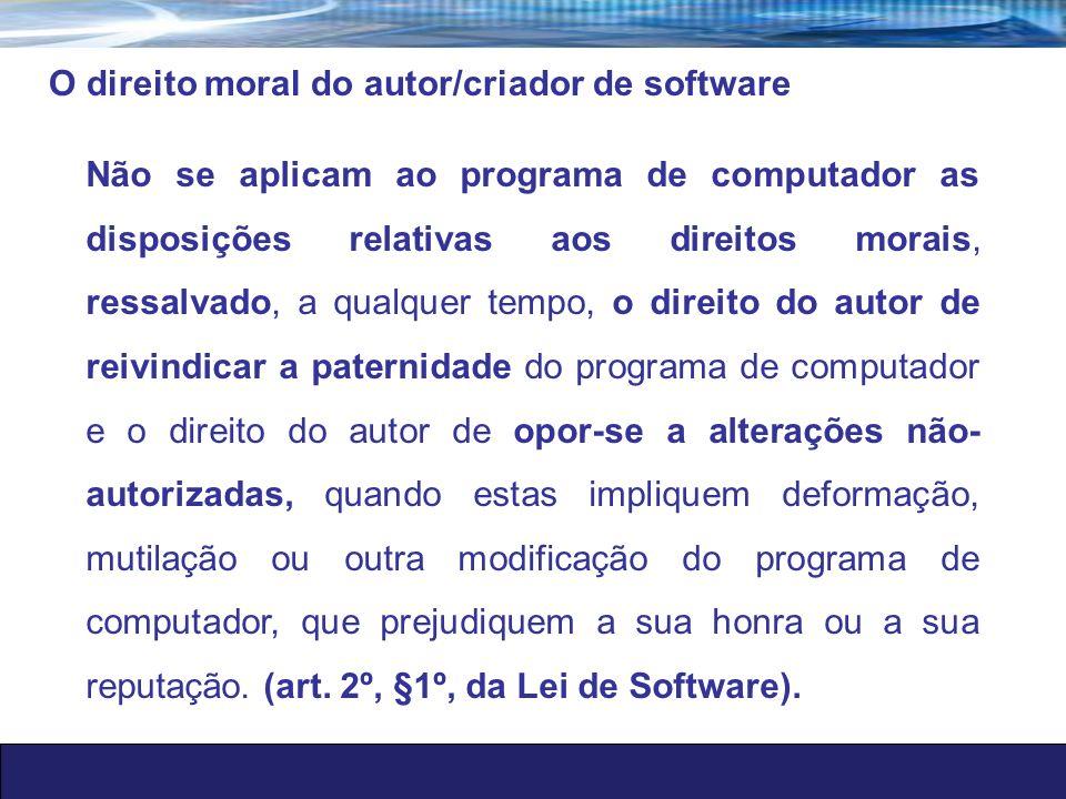O direito moral do autor/criador de software