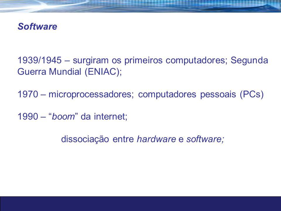 dissociação entre hardware e software;
