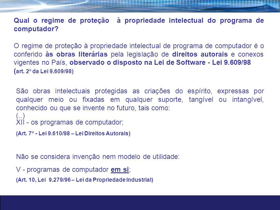 XII - os programas de computador;