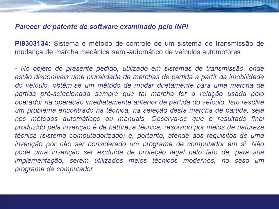 Parecer de patente de software examinado pelo INPI