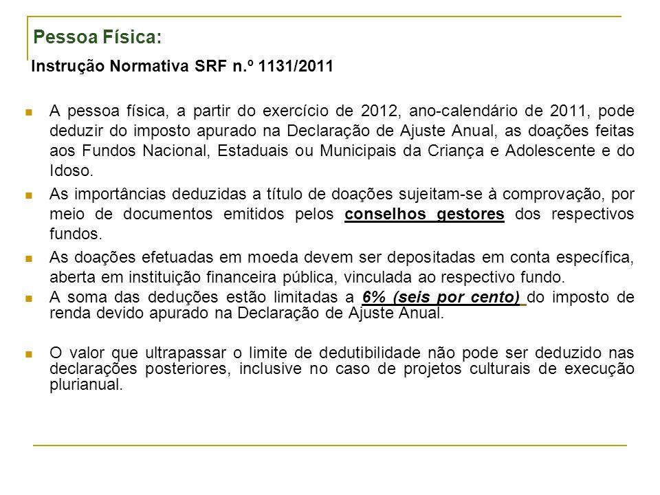 Pessoa Física: Instrução Normativa SRF n.º 1131/2011