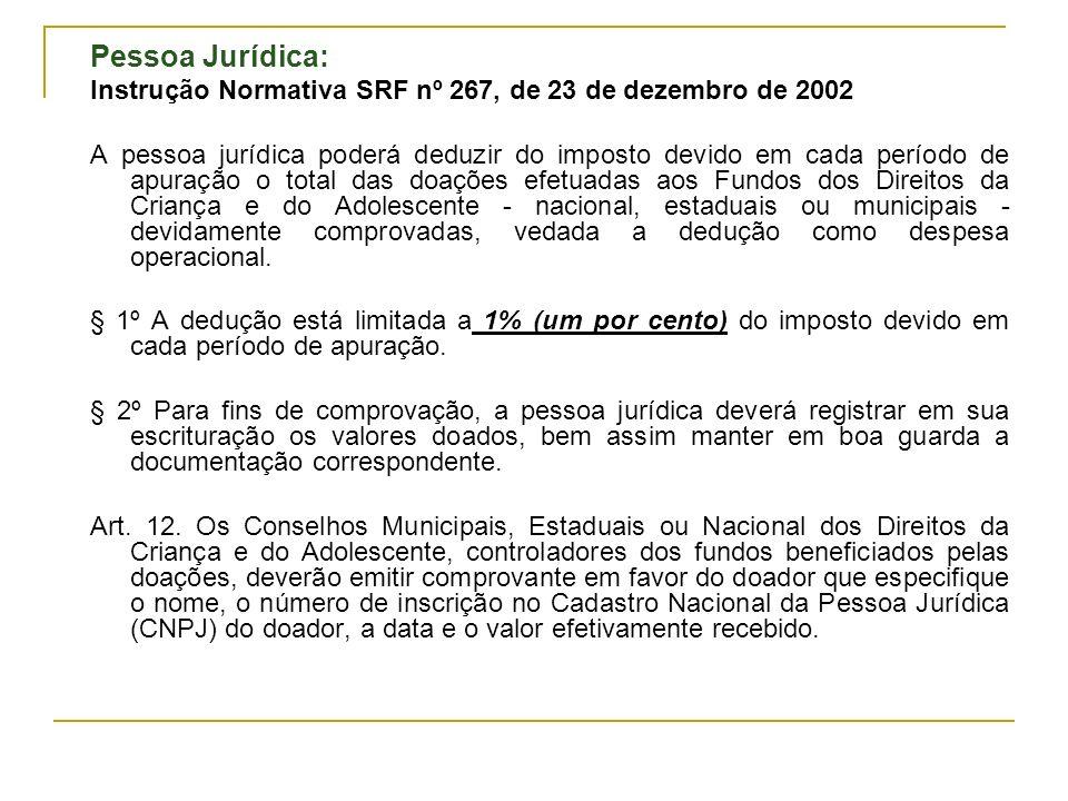 Pessoa Jurídica: Instrução Normativa SRF nº 267, de 23 de dezembro de 2002.