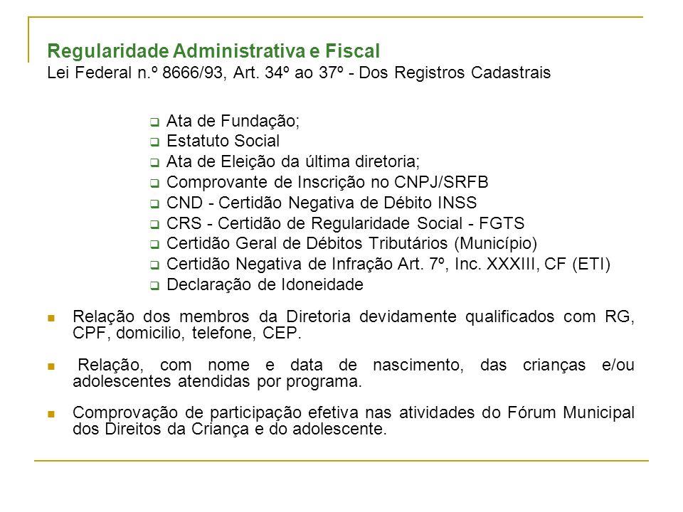 Regularidade Administrativa e Fiscal
