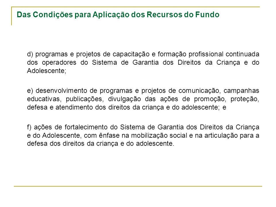 Das Condições para Aplicação dos Recursos do Fundo