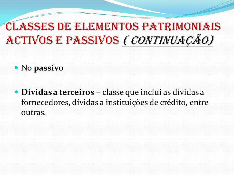 CLASSES DE ELEMENTOS PATRIMONIAIS ACTIVOS E PASSIVOS ( continuação)