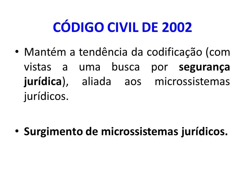 CÓDIGO CIVIL DE 2002 Mantém a tendência da codificação (com vistas a uma busca por segurança jurídica), aliada aos microssistemas jurídicos.