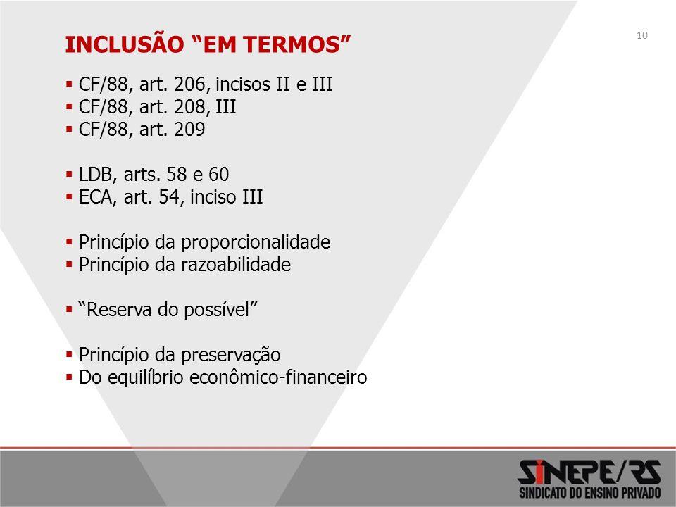 INCLUSÃO EM TERMOS CF/88, art. 206, incisos II e III