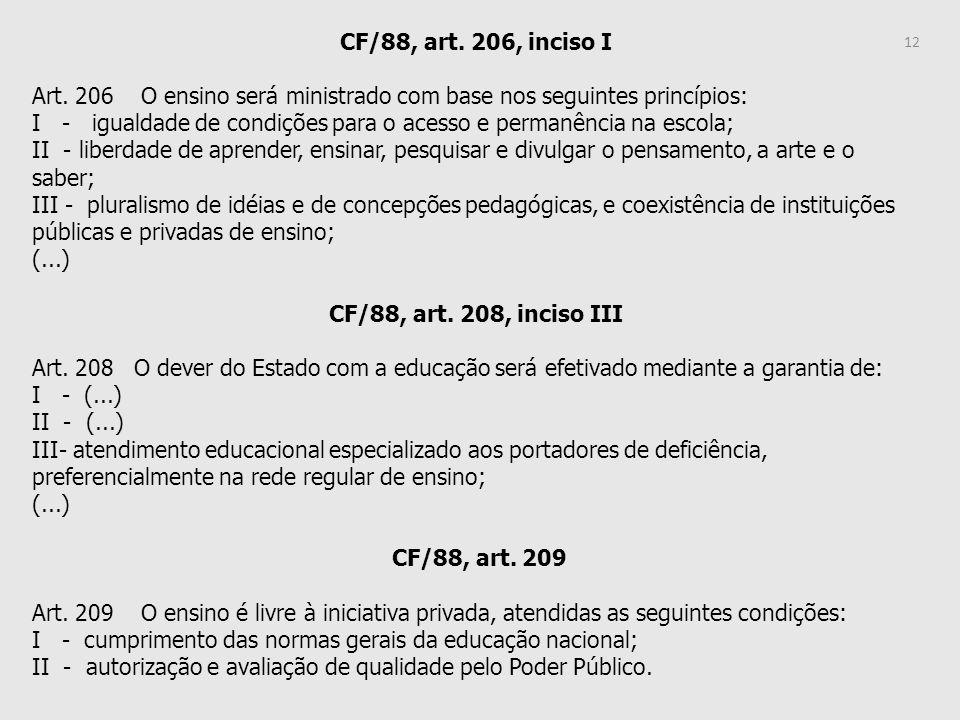 CF/88, art. 206, inciso I Art. 206 O ensino será ministrado com base nos seguintes princípios: