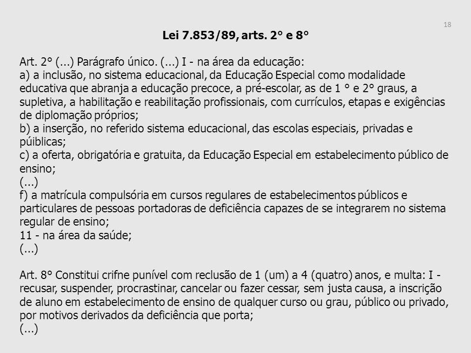 Lei 7.853/89, arts. 2° e 8° Art. 2° (...) Parágrafo único. (...) I - na área da educação: