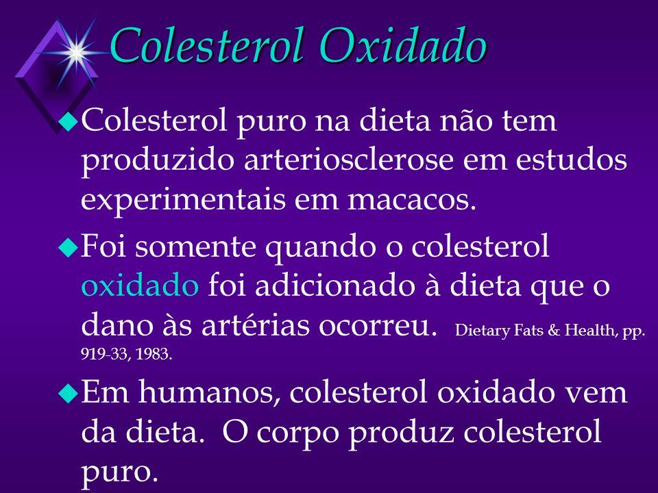 Colesterol Oxidado Colesterol puro na dieta não tem produzido arteriosclerose em estudos experimentais em macacos.