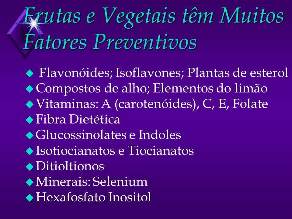 Frutas e Vegetais têm Muitos Fatores Preventivos