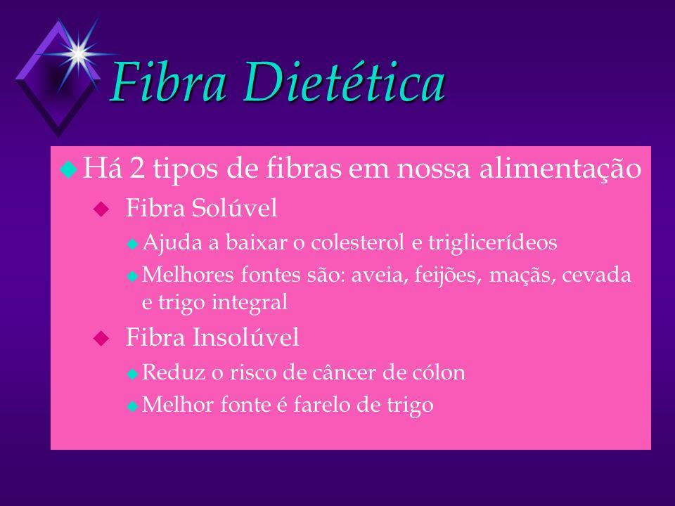 Fibra Dietética Há 2 tipos de fibras em nossa alimentação