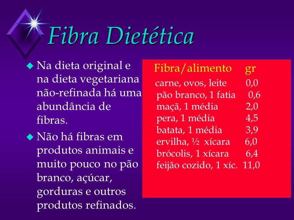 Fibra Dietética Na dieta original e na dieta vegetariana não-refinada há uma abundância de fibras.