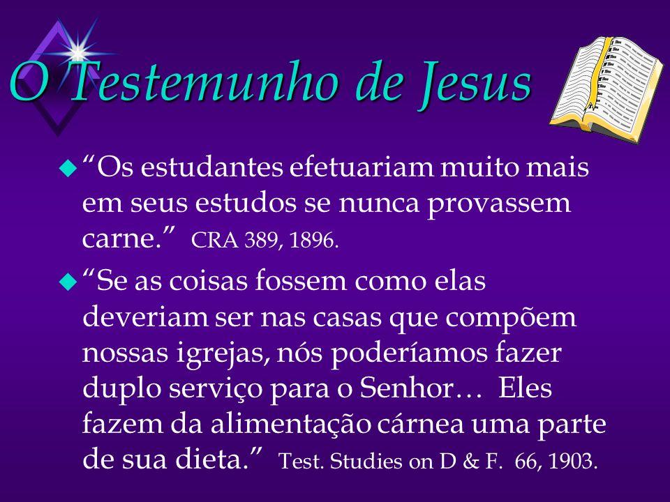 O Testemunho de Jesus Os estudantes efetuariam muito mais em seus estudos se nunca provassem carne. CRA 389, 1896.
